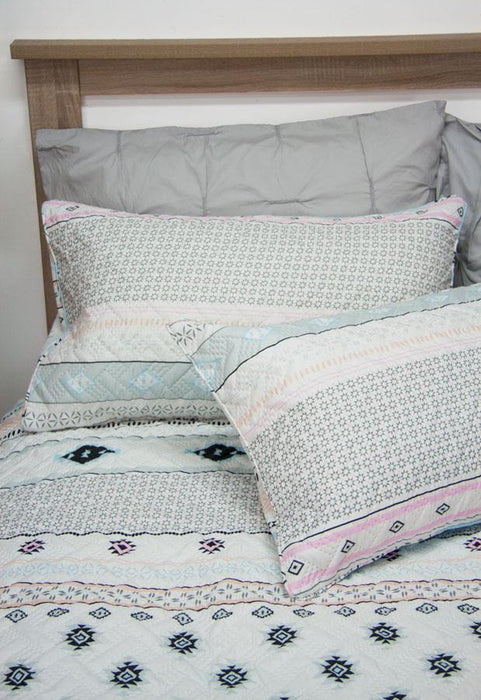 Ardor Boudoir Printed & Embossed Aztec Multi Quilted Quilt Cover Set