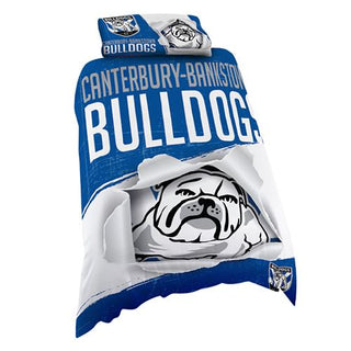 NRL Official Canterbury Bulldogs Supporter Quilt Cover Set-Single Bed