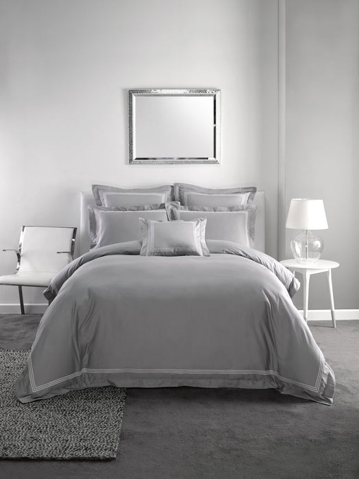 Linen House Hotel Collection 500TC Pembroke Silver Quilt Cover Set or Accessories