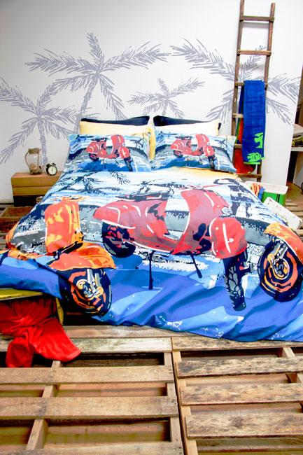 Retro Home Scooter Blue Quilt Cover Set