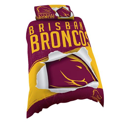 NRL Official Brisbane Broncos Supporter Quilt Cover Set-Single Bed