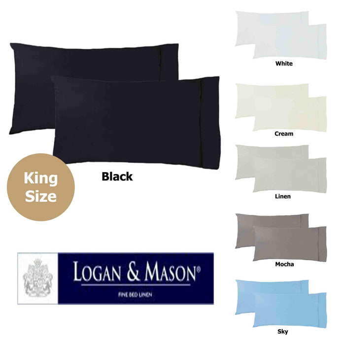Logan & Mason 250 Thread Count Poly/Cotton King Pillowcases (Pair)