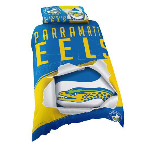 NRL Official Parramatta Eels Supporter Quilt Cover Set-Single Bed