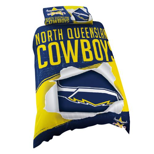 NRL Official North Queensland Cowboys Supporter Quilt Cover Set-Single Bed