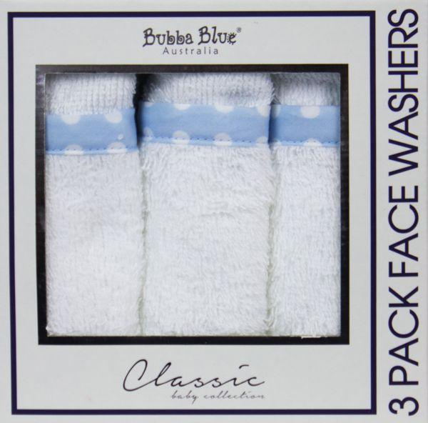 Bubba Blue Polka Dots 3pk Face Washers