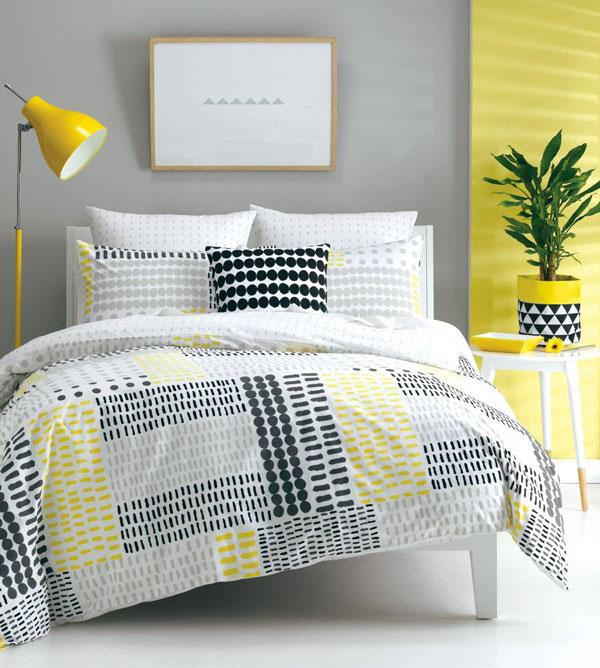 Deco Dash Yellow Quilt Cover Set