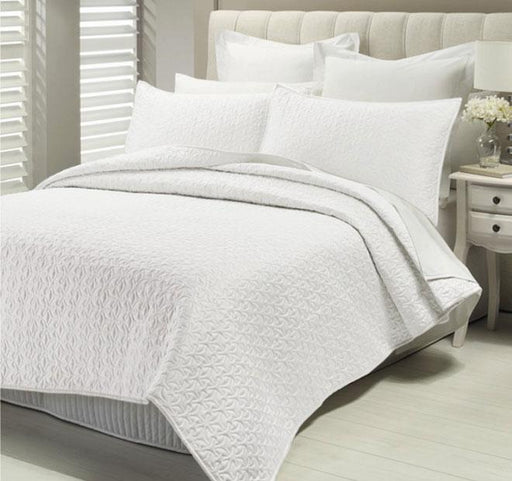 Lux Savoy Quilted Coverlet Set-White