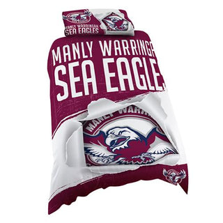 NRL Official Manly Sea Eagles Supporter Quilt Cover Set-Single Bed