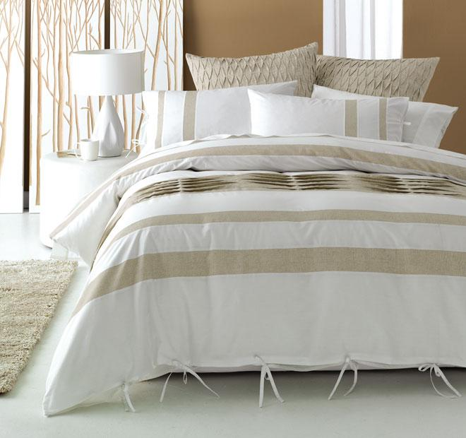 Deco Sandy Point Quilt Cover Set - White/Linen