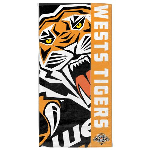 NRL Official Wests Tigers Supporter Cotton Velour Beach Towel