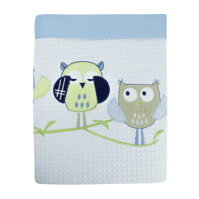 Bubba Blue Embroidered Baby Owl Boy Reversible Cot Waffle Blanket