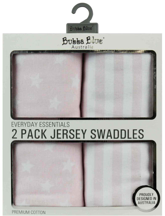Bubba Blue Everyday Essentials 2 Pack Jersey Swaddles