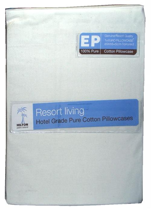 Hilton Resort Living White European Pillowcase Pack of 2