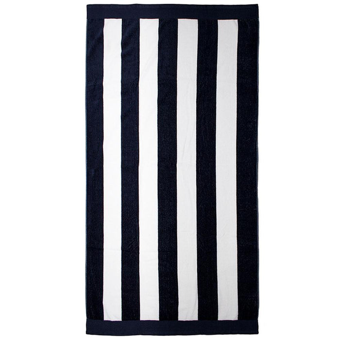 Bambury Egyptian Cotton Beach Towel 95x175cm - Navy Stripe