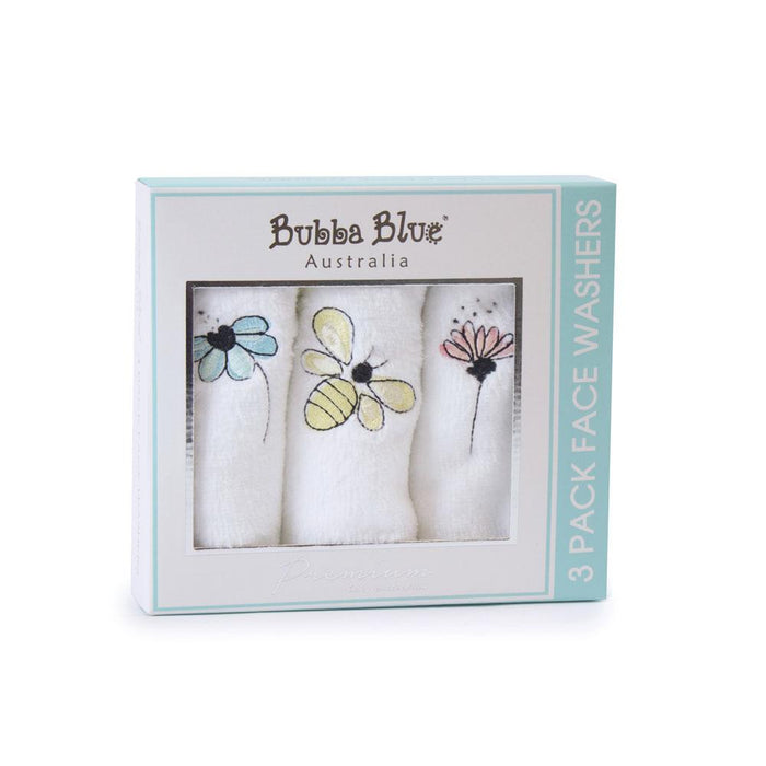 Bubba Blue Bee Beautiful 3 Pack Face Washer