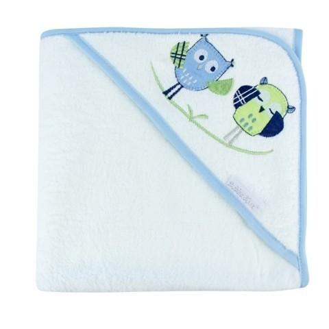 Bubba Blue Embroidered Baby Owl Boy Hooded Towel