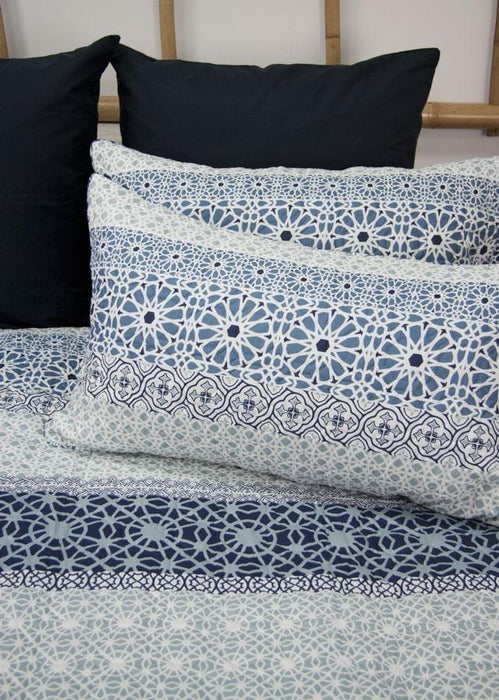 Ardor Boudoir Printed & Embossed Midnight Navy Quilted Quilt Cover Set