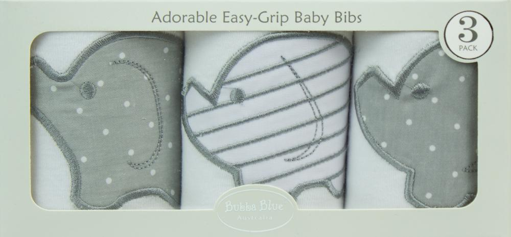 Bubba Blue Embroidered Petit Elephant 3 Pack Bibs