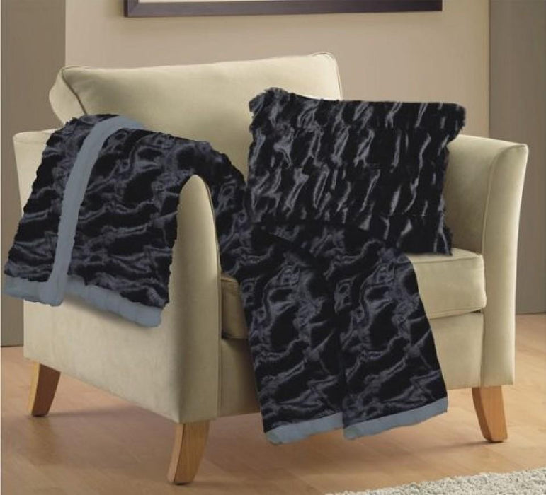 Lux Ruched Faux Fur Throw Rug
