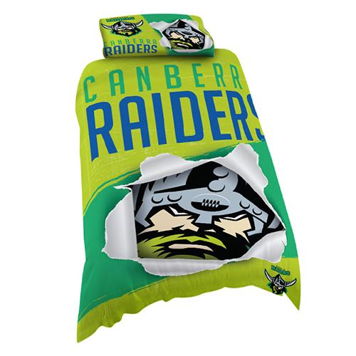 NRL Official Canberra Raiders Supporter Quilt Cover Set-Single Bed