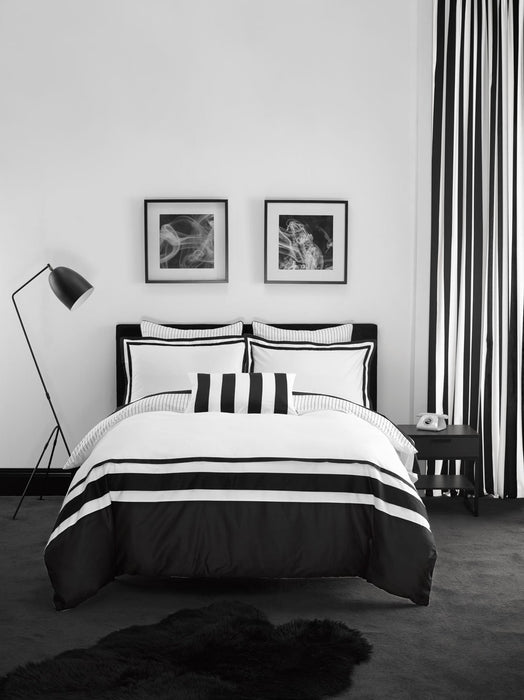 Linen House Hotel Collection 500TC Anjelica White / Black Quilt Cover Set