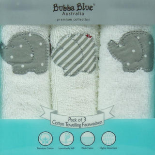 Bubba Blue Embroidered Petit Elephant 3 Pack Face Washers