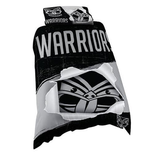 NRL Official New Zealand Warriors Supporter Quilt Cover Set-Single Bed