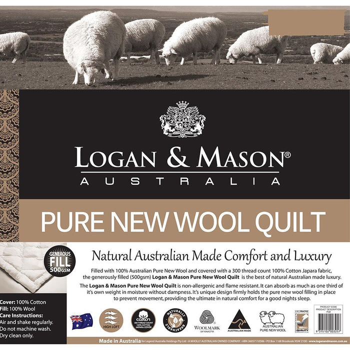 Logan & Mason Pure Wool Quilt Australia Made