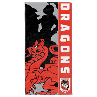 NRL Official St George Illawarra Dragons Supporter Cotton Velour Beach Towel