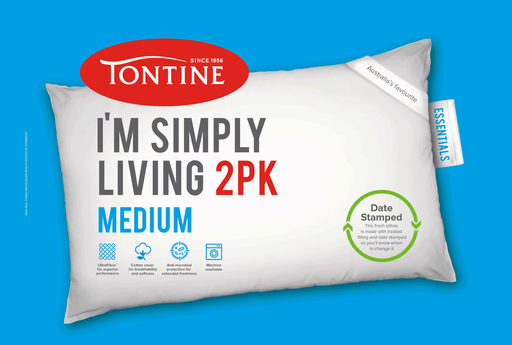 Tontine Simply Living Medium Pillow - 2 Pack