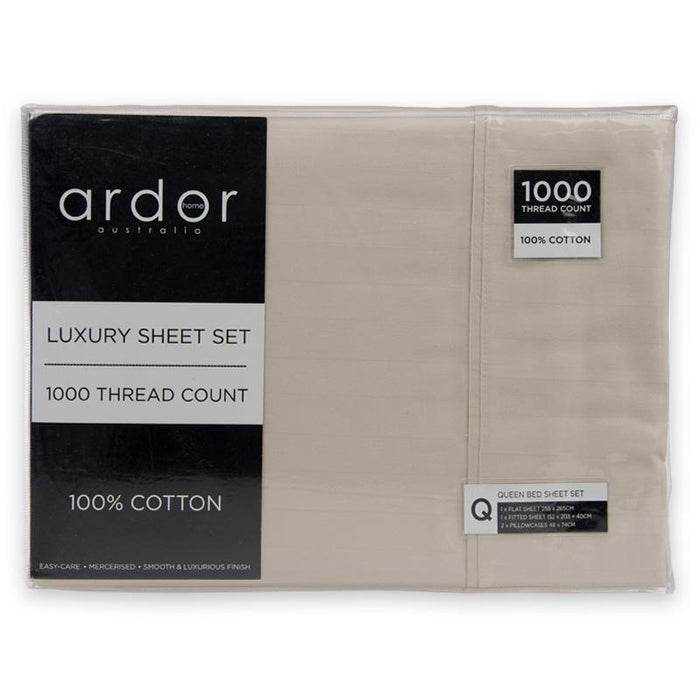 Ardor 1000 Thread Count Cotton Wide Stripe Mega Sheet Set