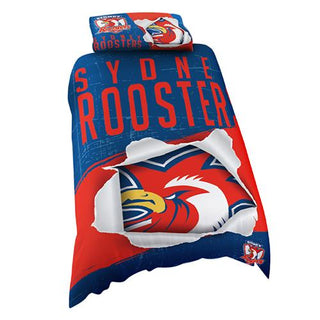 NRL Official Sydney Roosters Supporter Quilt Cover Set-Single Bed