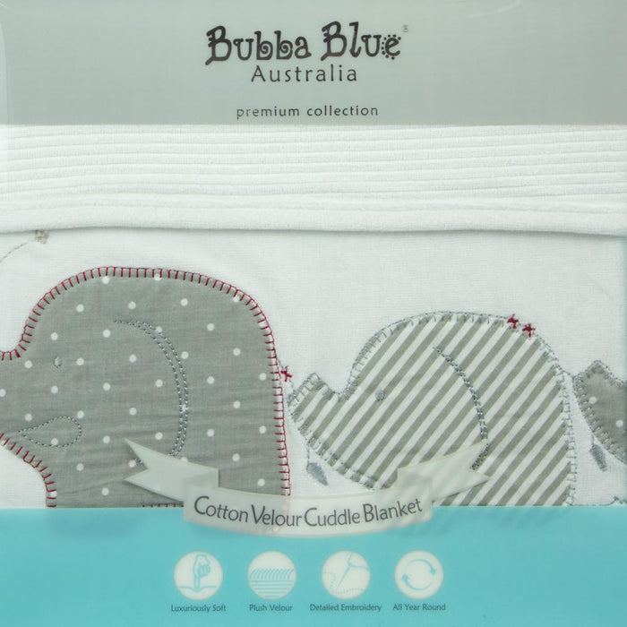 Bubba Blue Embroidered Petit Elephant Bassinet Velour Blanket