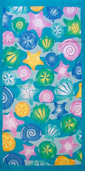Palmer Pacific Kids Velour Beach Towel - Shells
