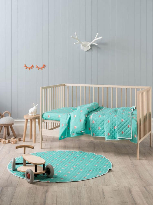 Hiccups Foxy Teal Cot Coverlet