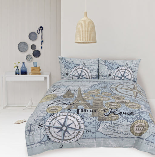 Retro Home Euro Map Quilt Cover Set