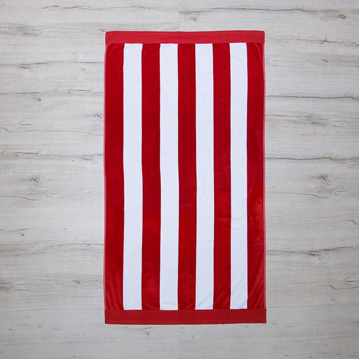 Bambury  Egyptian Cotton Beach Towel 95x175 Red Stripe