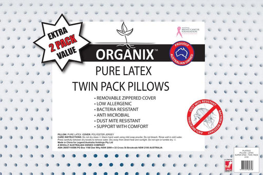 Organix Logan & Mason Pure Latex Twin Pack Pillows