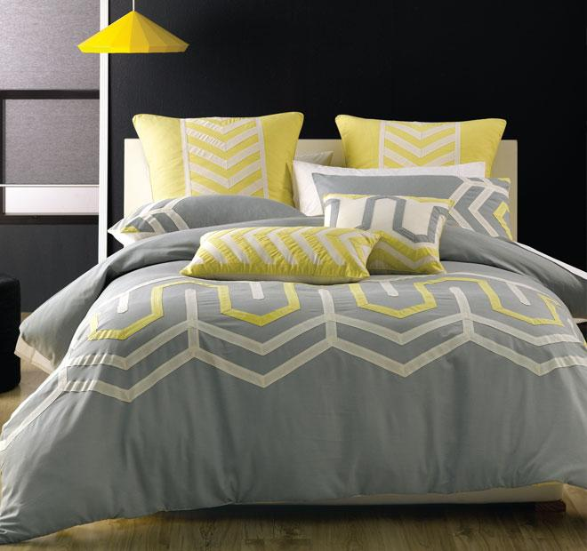 Deco Ralston Grey/Yellow Quilt Cover Set