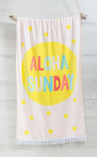 Bambury Aloha Printed Fringed Beach Towel