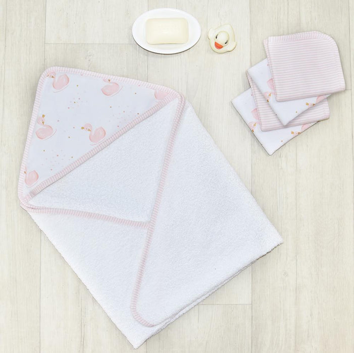 Living Textiles Swan/Pink Stripe 5pc Hooded Towel Gift Set