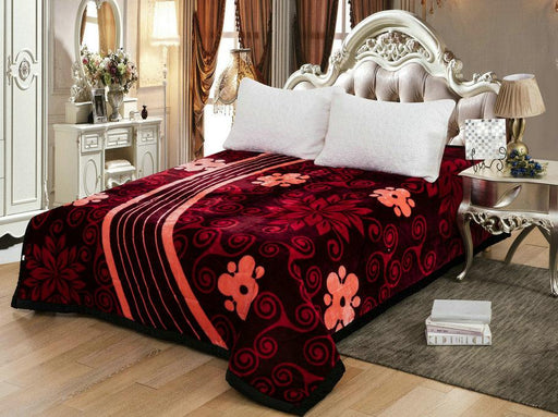 Parmatex 3.8kg Mink Blanket - W206 Red Wine - Flower