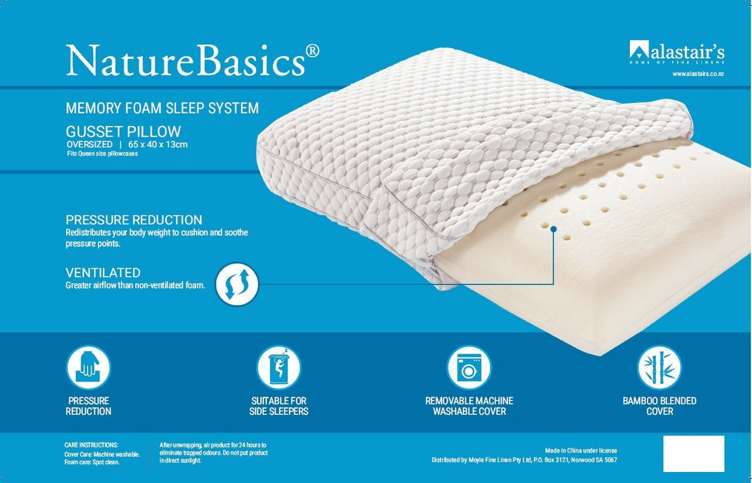 Alastair's NatureBasics Memory Foam Sleep System Gusset Pillow