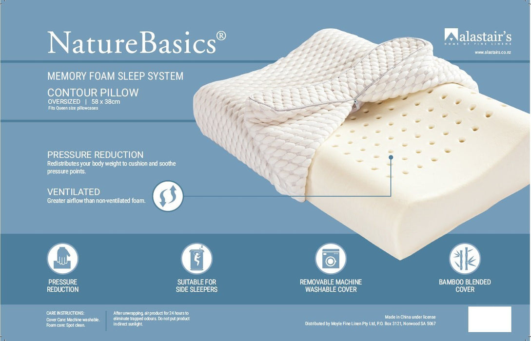 Alastair's NatureBasics Memory Foam Sleep System Contour Pillow