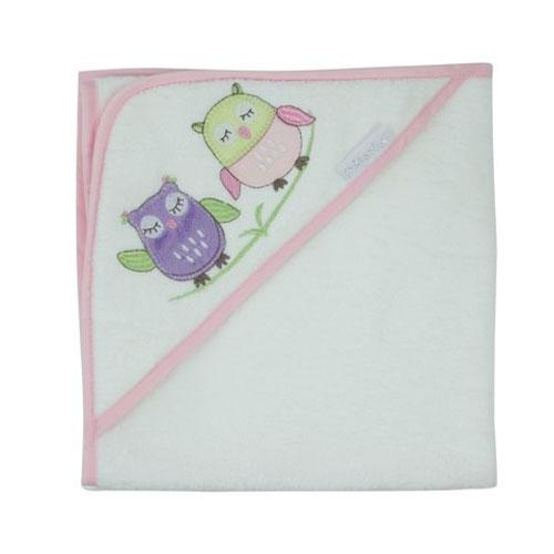 Bubba Blue Embroidered Baby Owl Girl Cotton Velour Hooded Towel