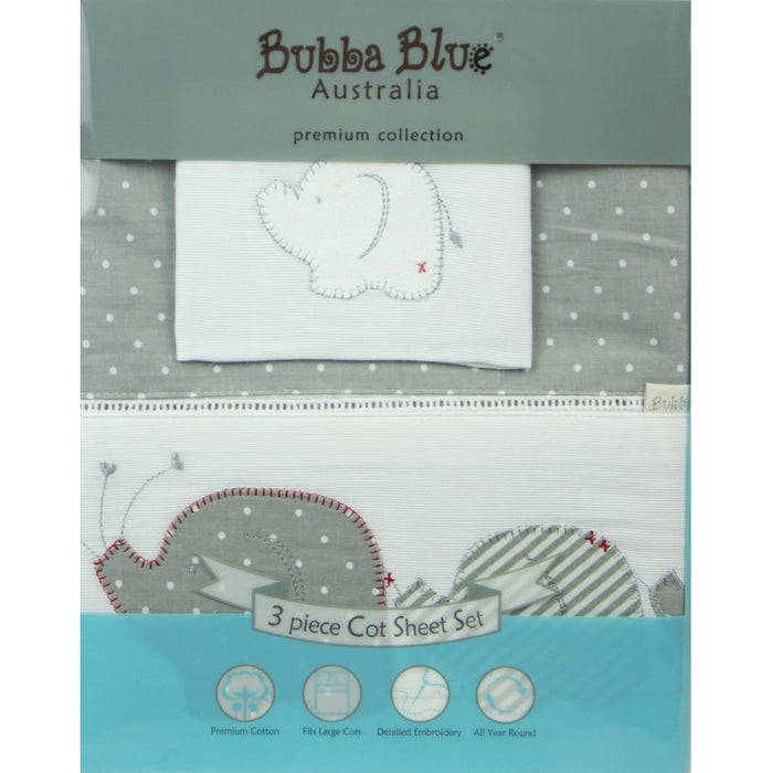 Bubba Blue Embroidered Petit Elephant Cot Sheet Set