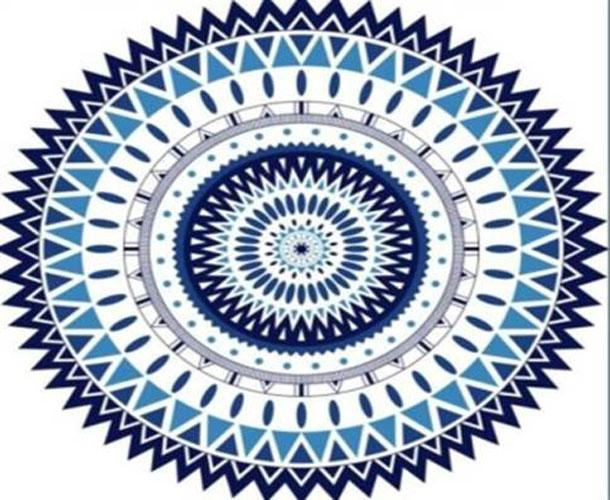 Love Stitch Velour Printed Round Beach Towel - Blue Triangle