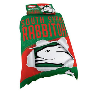 NRL Official South Sydney Rabbitohs Supporter Quilt Cover Set-Single Bed