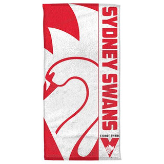 AFL Official Sydney Swans Supporter Cotton Velour Beach Towel