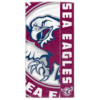 NRL Official Manly Sea Eagles Supporter Cotton Velour Beach Towel